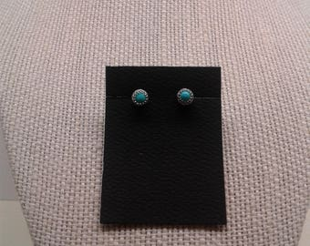 4 MM Silver Turquoise Post Earrings. Stock #E-14