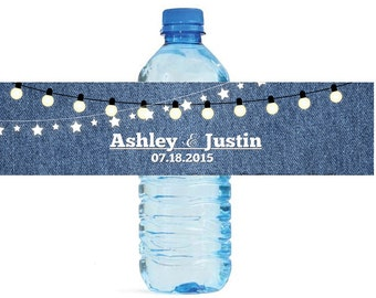 Denim and Market Lights Wedding Water Bottle Labels Great for Engagement Bridal Shower Party Easy to apply self stick labels