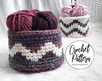 Crochet Basket Pattern - Tapestry Crochet Tutorial - Crocheted Purple White Decor - Beginner Crochet Home Decor