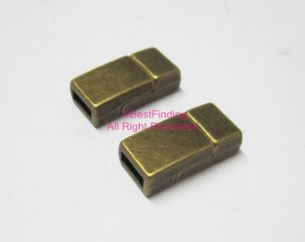 5pcs Antique bronze 5x2mm flat magnet clasp 5mm Flat leather clasps