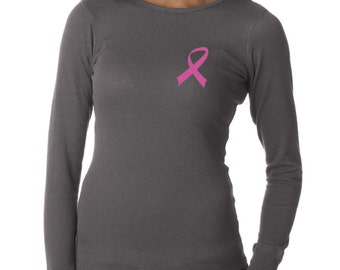 Breast Cancer Awareness Ladies Shirt Pink Ribbon Long Sleeve Thermal Tee T-Shirt RIBBON-B8500