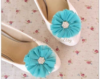 Turquoise Bridal shoes clips wedding shoes clips fabric flower shoes clips