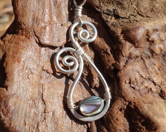 Abalone Wire Pendant ~ Hammered Silver, Sterling Silver, Abalone Shell, Paisley, Boho Jewelry, Wire Wrapped Pendant, Paua Shell, Handmade