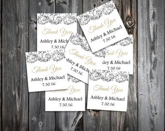 Lace and Burlap Rustic Theme 100 Wedding Favor Stickers. Personalized and printed square labels.