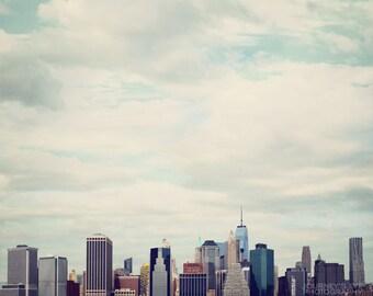 NYC photography, New York decor, New York skyline, wall art, fine art photography, New York art - Skies Over Manhattan