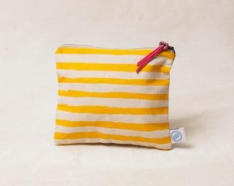 Medium Line Zipper Bag -   screen printed in yellow