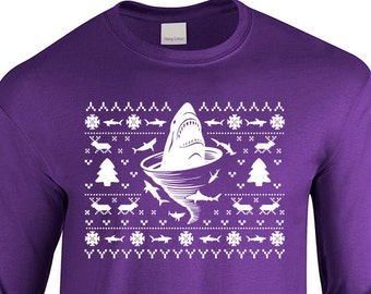 "Shark Tornado Inspired ""Ugly Christmas Sweater Shark Tornado"" Unisex Longsleeved Shirt for Christmas, Holidays, Party, Barcrawl, Office Part"