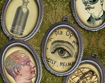 18 x 25mm Victorian Steampunk Science & Medicine - Cameo-Size Oval Images - Digital Collage Sheet - Instant Download