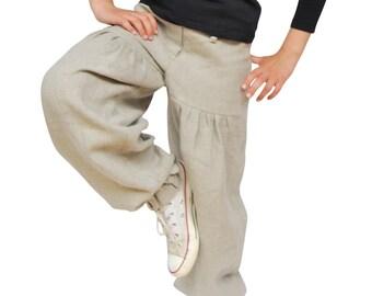CLOSING DOWN SALE. Handmade Linen Trousers for Girls