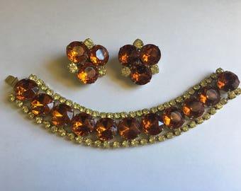 Vintage Yellow and Cognac Topaz Rhinestone Bracelet and Earring Set 1232