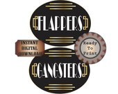 Flappers Gangsters Restroom Door Signs Printable Gatsby Party Art Deco Roaring 20s Prohibition Speakeasy Ladies Mens Room Wedding Decor
