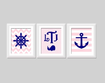 Baby Girl Nautical Nursery Art Set, Monogram Nursery Art, Whale Nursery Chevron Nursery Decor Navy Pink Nursery, Baby Girl Nautical Wall Art