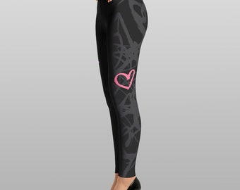Graffiti scribble print leggings, black with dark gray and pink/purple heart and star embellishment, unique design