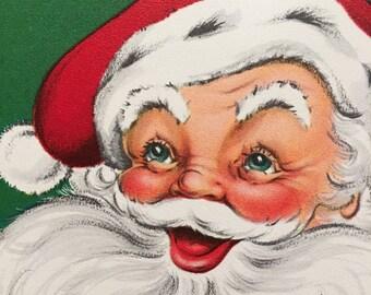 Vintage Christmas Card Santa Dad Mid Century Dad Unused NOS
