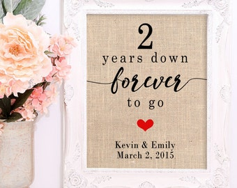 2 Year Anniversary Print on Cotton OR Burlap, Cotton Anniversary Gift For Her, Cotton Anniversary Gift, Personalized