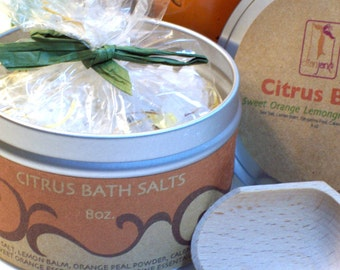 Citrus Herbal Bath Salts with Sweet Orange, Tangerine and Lime Essential oil- Home and Living,  Bath Body Skincare