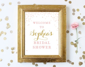 Bridal Shower Welcome Sign Printable . Pink and Gold Glitter Bridal Shower Printable Signs . Welcome to Bridal Shower Personalized Download