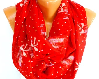 Red Christmas Scarf, Scarves, Christmas Shawl, infinity Scarf, Viscose scarf, Lightweight Summer Scarf, Gift for Mother's Day, for Christmas