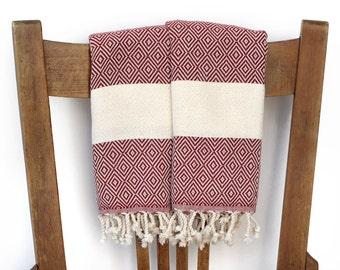 Face Towel Kitchen Hand Towel Cotton Turkish Towel Handwoven Cotton Bathroom Towel Tea Towel Guest Towel DIAMOND BURGUNDY Red PESHKIR Set