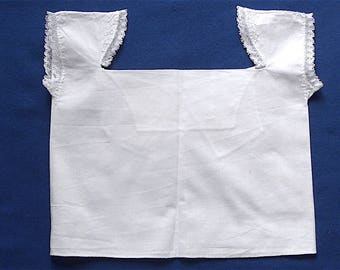 Babies undergarment, antique.   White cotton with lace trim at the armholes & herringbone hand embroidery. c1870's and earlier.