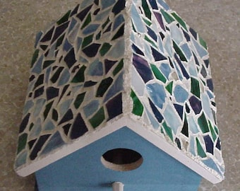 Stained Glass Mosaic Bird House - Choose your color