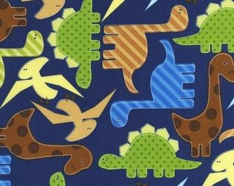 Navy Dinosaurs Premium Cotton Fabric from Robert Kaufman Fabrics by Ann Kelley