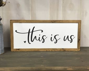 This is us wood sign, farmhouse style, gallery wall sign,
