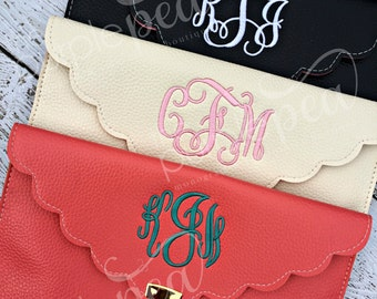 Monogramed Scalloped Edge Clutch Purse