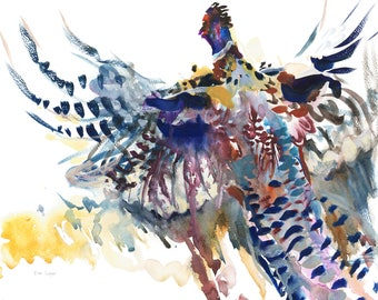 Pheasant Take Off/Pheasant Giclée Print/Pheasant Watercolour Print