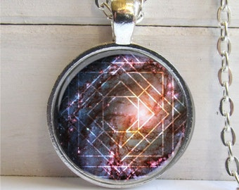 Geometric Necklace, Nebula Pendant, Galaxy Necklace, Space Jewelry