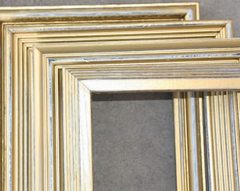 Metallic Gold Painted Frame Set of  Nine Vintage Hand Painted & Distressed