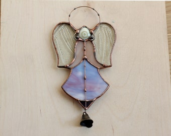 Lilac Angel Suncatcher, Guardian Hanging Angel, Christmas Home Decor, Angel Stained Glass, Angel Handmade Ornament, Angel Wings, Glass Art