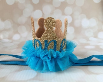 Birthday Crown Headband - Custom Text - First Birthday Crown - Baby Girl Crown - Glitter Tutu Crown - Party Crown