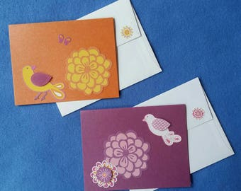Two Handmade Greeting Cards with Dimensional Birds and Flowers - orange and plum metallic blank cards