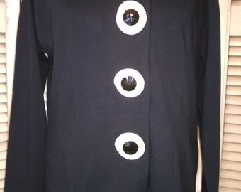 80s Vintage Designer Anne Klein Black Jersey Knit Top Jacket
