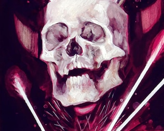 ORIGINAL PAINTING Skull Art Oil Painting With Arrows Black and White and Pink 5 x 7 Inches