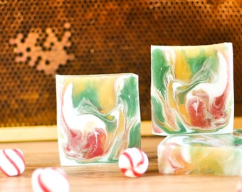 Discounted Christmas Holiday Peppermint Hand Soap- Clearance Christmas Soap- Holiday Soap- Handmade Soap- Green Red Gold Soap-  Holiday Gift