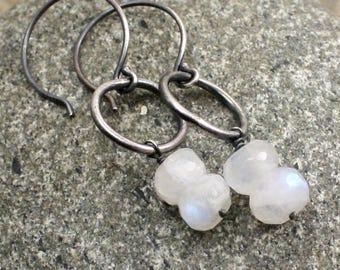 Moonlight Earrings in Rainbow Moonstone and Sterling Silver