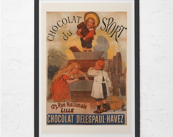 VINTAGE CHOCOLATE POSTER - Antique French Chocolate Ad - Chocolate Lover Gift, Kitchen Wall Art, Antique Poster, Ribba Size Home Decor