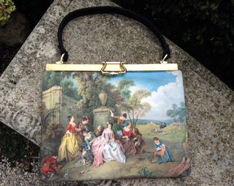 1940s Purse / Purse Painted Satin Silk Pastoral Scene / Made in Italy / Vintage Purse