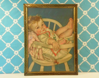 Vintage Framed Baby Print - Maud Tousey Fangel - The Little Rogue - Nursery Decor