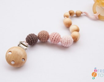 Pacifier Clip | Organic Cotton, Juniper Wood | Soother Clip | Dummy Chain | Pacifier Chain | Baby Girl Gift