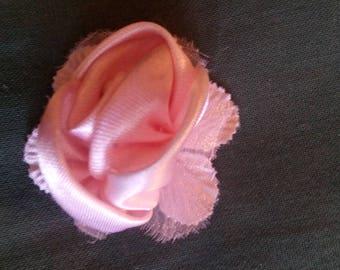 Brooch sewing, blush color satin