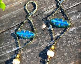 Teal Chandelier Earrings Renaissance Inspired jewelry