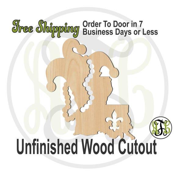 Louisiana Mardi Gras- 130016- Mardi Gras Cutout, unfinished, wood cutout, wood art, laser cut shape, wood cut out, Door Hanger, wooden, DIY