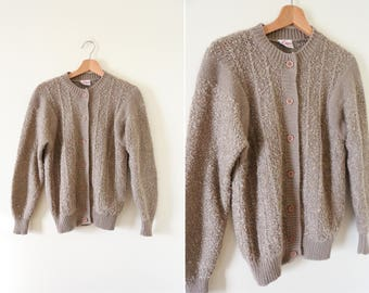 Vintage Taupe Fuzzy Cardigan // Light Brown Fuzzy Button Down Sweater