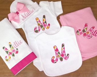 Personalized Onesie Cap Burp Cloth Bib Baby Set Bring Home Outfit