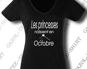 """Idée cadeau anniversaire """"Les princesses naissent en octobre."""" offrir en octobre."""