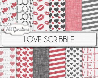 """Love Digital Papers """"LOVE SCRIBBLE"""" hand drawn backgrounds, kisses, red hearts, black hearts, linen texture for photographers,scrapbooking"""