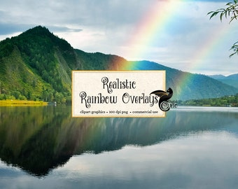 Rainbow Photography Overlays, rainbow PNG clipart photo overlays, realistic rainbow photo light effects, digital photoshop overlays